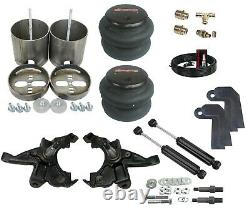 88-98 Silverado Front Air Ride Kit Bolt in Bags Drop Spindle Shock Relocator