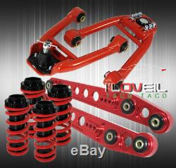 99 00 Honda CIVIC Adjustable Camber Kit Front Rear + Lower Control Arms Bar Red