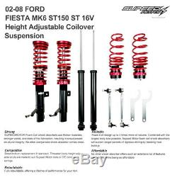 For Ford Fiesta Mk6 ST150 ST 16v 02-08 Coilover Suspension Kit Lowering Springs